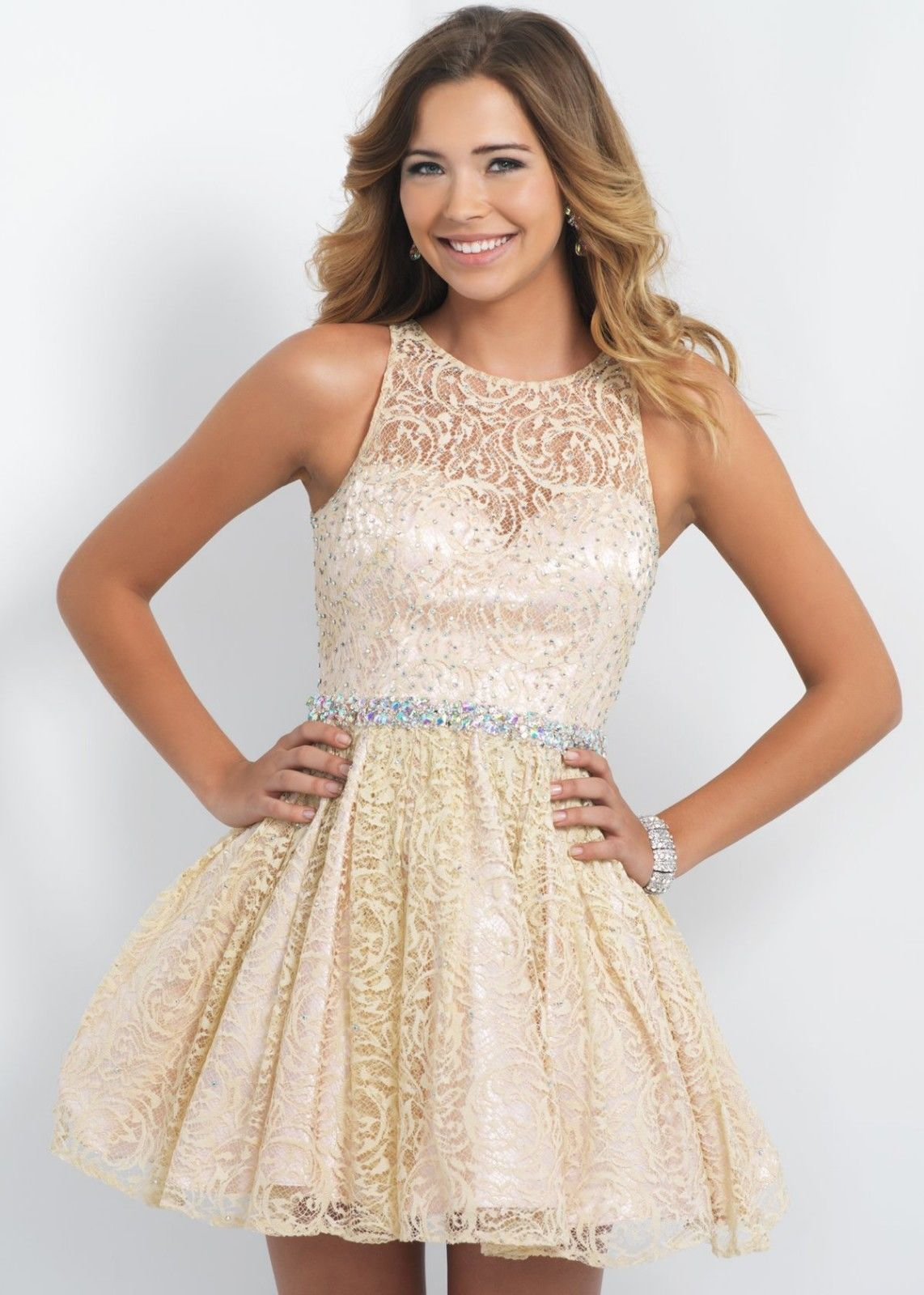 y Champagne Lace Short Prom Dress Home ing Party
